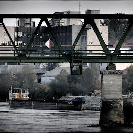 Bridge on Drava river, Osijek Croatia by Damir Kutleša - Buildings & Architecture Bridges & Suspended Structures ( building, ship, bridge, coast, river )
