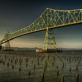 Sunrise at the Bridge by Richard Michael Lingo - Buildings & Architecture Bridges & Suspended Structures ( columbia bridge, oregon, buildings, astoria-megler bridge, bridges )
