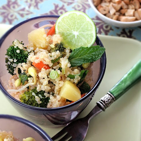 Quinoa Salad with Pineapple, Broccoli, Mint