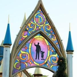 Disney's Magical Parade by Debbie Salvesen - City,  Street & Park  Amusement Parks ( natural light, natural light photography, mickey mouse, california, disney, backlighting, sun, walt disney, vacation, anaheim, family, sunset, disneyland, light,  )