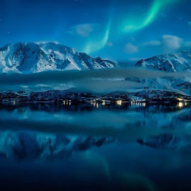 Blue by Robin Tøllefsen - Landscapes Weather ( #aurora #reflections #water #mountains #mirror )