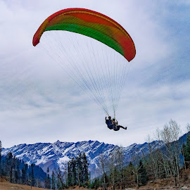 The Paraglider. by Jay Vardhan Sharan - Sports & Fitness Other Sports ( hills, adventure, mountains, mountain, beautiful, outdoors, sport, scenic view, view, landscape )