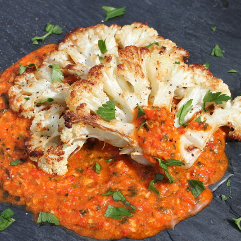 Grilled Cauliflower Steaks with Romesco Sauce