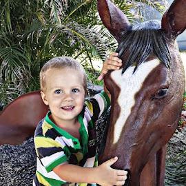 arron by Karen Goeman - Babies & Children Child Portraits ( horse, cute, artificial horse, portrait )