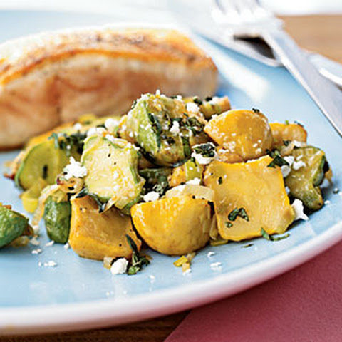 Sautéed Zucchini and Squash with Thyme and Feta Recept | Yummly