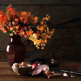 Painting by Luiz Laercio - Illustration Flowers & Nature ( onions, still life, luizlaercio, garlics, flowers, classic )