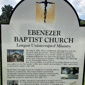 On May 9, 1806, eleven individuals met together with Rev. Richard Curtis, Jr. and Rev. Thomas Mercer to organize Ebenezer Baptist Church in Amite County. Services have continued there for over 200 ...