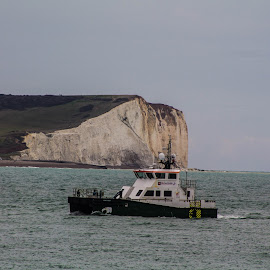 Seaford Cliffs  and fishing boat  by Sam Kirimli - Digital Art Places