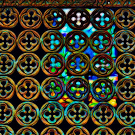 Cemetary Grill by Carrie Cadenas - Abstract Patterns ( pere lachaise cemetary grill pattern iron rust,  )