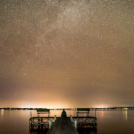 Star Gazing by Mike Karels - Landscapes Waterscapes ( water, sky, okoboji, stars, star, lake, night, dock )