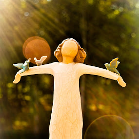 Angel in the Sun  by Sawyer Jones Photography  - Artistic Objects Other Objects ( christian, for sale, church, beautiful, portrait, sun, print, angel, figurine., catholic, nature, bursting, outside )