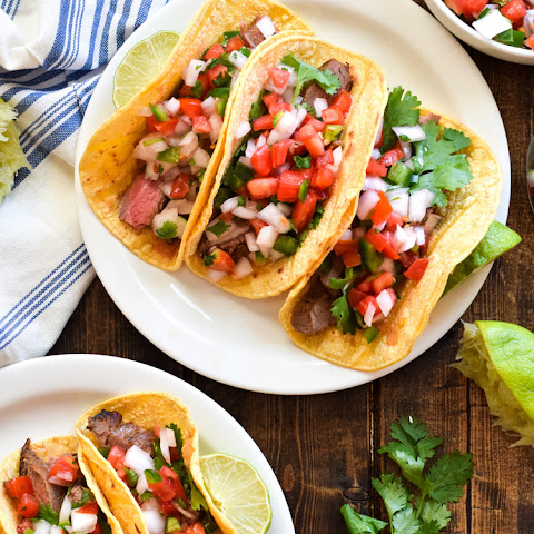 Marinated Flank Steak Tacos with Pico de Gallo