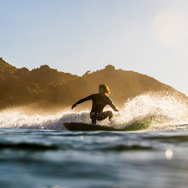 Sunset in Tallow by Francesc Pujol - Sports & Fitness Surfing ( sunset, wave, ocean, landscape, surf )