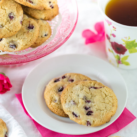 Pomegranate, Rose and White Chocolate Cookies