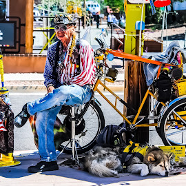 A Man and His Dog by Robert Smith - People Portraits of Men ( bike, flea market, dog, santa fe, new mexico )