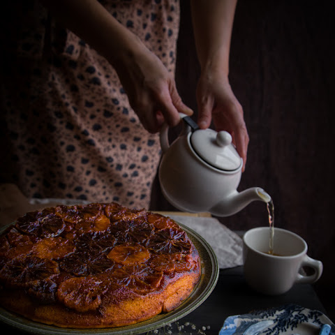 Caramelized blood orange Mandarin ricotta upside-down cake