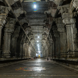 Temple made of stone pillars by Balasubrahmanya Bhat - Buildings & Architecture Other Interior ( interior, building, god, indian, stone, low light, traditional, holy, hinduism, temple, roof, cultural heritage, hindu, floor, dark, buildings, long exposure, india, darkness, light, culture )