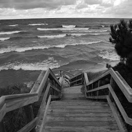 Stairs to Superior in B&W by Karin Lyke - Black & White Landscapes ( steips, stairs, waterscape, black and white photo, lake superior, lake, landscape,  )