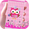 APK App Pink Owl Theme Rosy Lace Bow for BB, BlackBerry