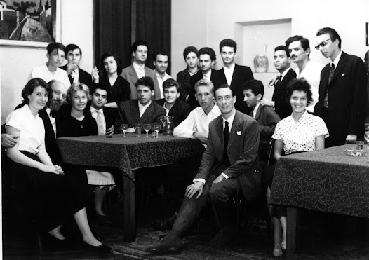 Matz (front row, second from left) sits with Antonio Janigro (front and center) and a group of students at a Bach seminar in 1962.  Matz had many musical collaborations with Janigro, an Italian virtuoso cellist.