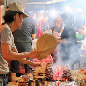 Grilling at Satay Club by Dennis  Ng - City,  Street & Park  Street Scenes ( fire, night, flames,  )