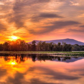 Fiery Sunset by Samantha Fortenberry - Landscapes Sunsets & Sunrises ( mountains, hdr, sunset, lake, river )