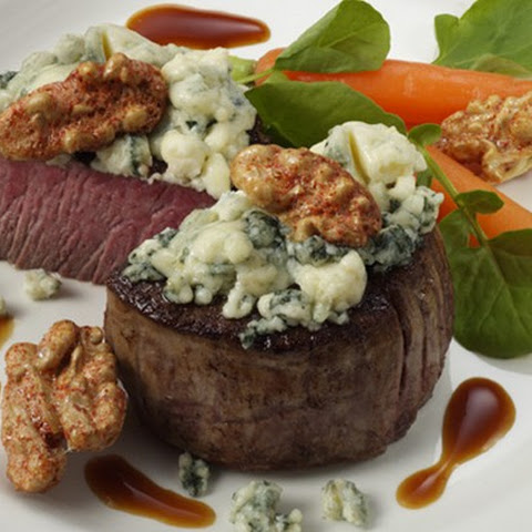 Seared Filet Mignon with Blue Cheese and Sweet & Spicy Walnuts