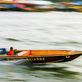 Speed Boat (Panning) by Laxminarayan Channa - Transportation Boats
