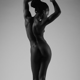 Stretch in Grey by DJ Cockburn - Nudes & Boudoir Artistic Nude ( grayscale, studio, monochrome, nude, black and white, woman, naked, curves, athletic, anna rose,  )