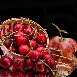 Basket full of cherries by Rakesh Syal - Food & Drink Fruits & Vegetables