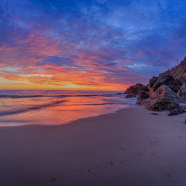 by Dom Del - Landscapes Sunsets & Sunrises ( sand, colorful, ocean, beach, sunrise, rocks )