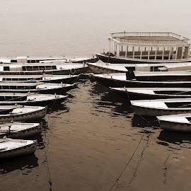 Waiting. by Debasish Sengupta - Transportation Boats ( water, photograph, waiting, boats, wait, transportation, boat, photo, photography )