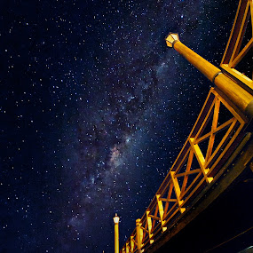 Under the Boardwalk by Charles Brooks - Landscapes Starscapes ( chile, milkyway, frutillar, pier, long exposure, night )