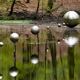 Art on Water by Tim Abeln - Artistic Objects Other Objects ( mirror, water, reflection, park, art, artistic, trees, sphere, forest, spheres )