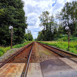 Railroad Dreamer by Ernie Kasper - Instagram & Mobile iPhone ( clouds, sky, railroad, outdoors, langley, trees, scenery, rust, landscape, concrete )