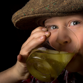 time for a drink by William Wotring - Babies & Children Child Portraits ( child, glass, kids, portrait, hat )