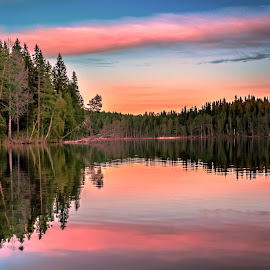 Serene by Ewa Nilsson - Landscapes Waterscapes ( water, clouds, reflection, lapland, sunset, trees, forest )
