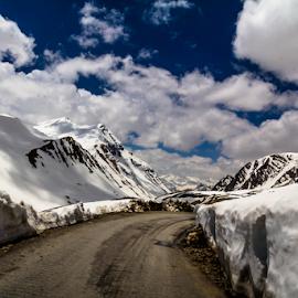 Magical Ladakh by Debajit Bose - Landscapes Travel ( snow peak, jammu kashmir, road to leh, travel, ladakh, landscape, leh, blue sky, road in snow, baralacha la pass, nature, 17000 ft, beautiful landscape, cloud, cloud formation, india )