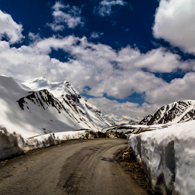 Magical Ladakh by Debajit Bose - Landscapes Travel ( snow peak, jammu kashmir, road to leh, travel, ladakh, landscape, leh, blue sky, road in snow, baralacha la pass, nature, 17000 ft, beautiful landscape, cloud, cloud formation, india )