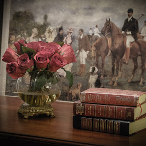 by John Edwin May - Artistic Objects Still Life ( books, roses, table, paintings, antique )