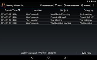 Screenshot of Meeting Minutes Pro