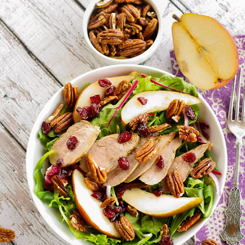 Mixed Greens with Pork, Sliced Pears and Spicy Pecans