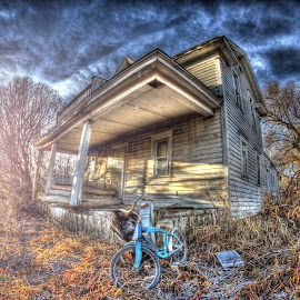 On the Porch by Eric Demattos - Buildings & Architecture Decaying & Abandoned ( lost, eric demattos, blue bike, sunrise, decayed, abandoned )