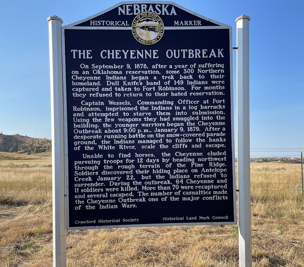 The Cheyenne Outbreak  On September 9, 1878, after a year of suffering on an Oklahoma reservation, some 300 Northern Cheyenne Indians began a trek back to their homeland. Dull Knife's bank of 149 ...