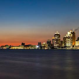 Detroit Skyline by Tammy Scott - City,  Street & Park  Skylines ( lights, sunset, buildings, architecture, cityscape )