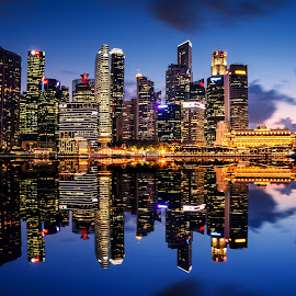 Singapore Financial District by Sam Song - City,  Street & Park  Skylines ( post office, skyline, reflection, financial district, mbs, night, singapore )