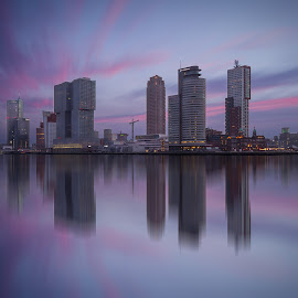by Rémon Lourier - City,  Street & Park  Skylines ( mirror, reflection, colourful, rotterdam, holland, cityscape, sunrise, highrises, river )