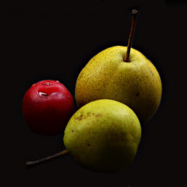 Pears and cherry by Prasanta Das - Food & Drink Fruits & Vegetables ( cherry, still life, pears )