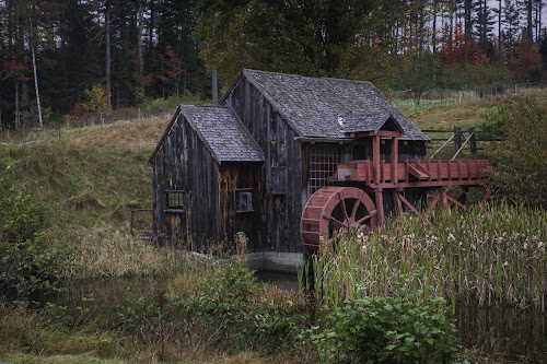 by Sarah Benoit Weir - Uncategorized All Uncategorized ( farm, autumn, waterwheel, fall, gristmill )