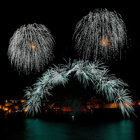 Bridge of Colors by Renata Apanaviciene - Abstract Fire & Fireworks ( maltese, malta, fireworks )